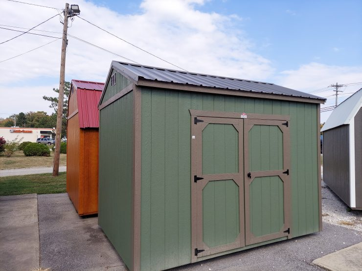 8x12 Utility Shed in Pequea Green Paint Front Angle