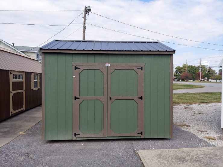 8x12 Utility Shed in Pequea Green Paint Front