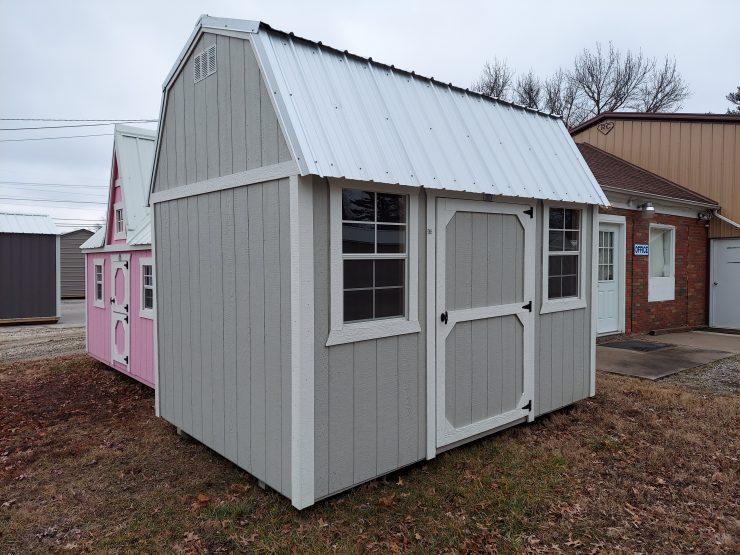 8x12 Side Lofted Barn in Mushroom Paint Front Corner