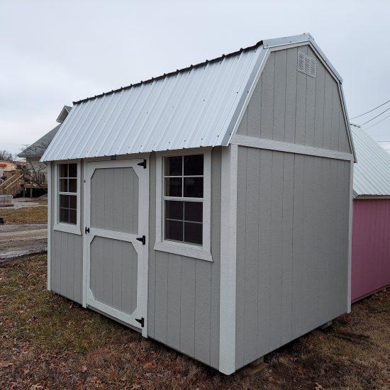 8x12 Side Lofted Barn in Mushroom Paint