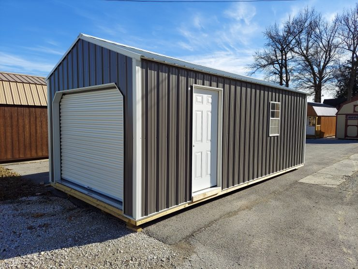 12x24 Portable Garage in Charcoal Metal Front