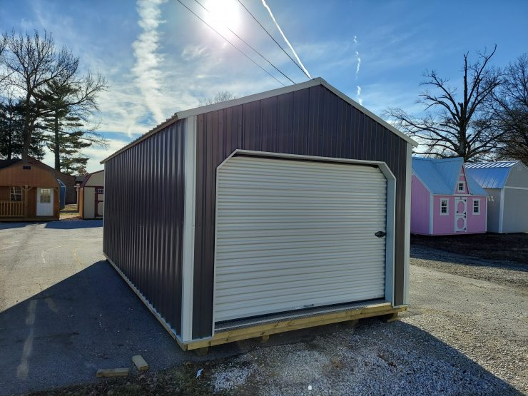 12x24 Portable Garage in Charcoal Metal Front Angle