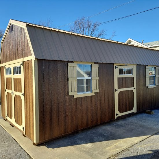 12x24 Side Lofted Barn with Windows in Chestnut Urethane Front