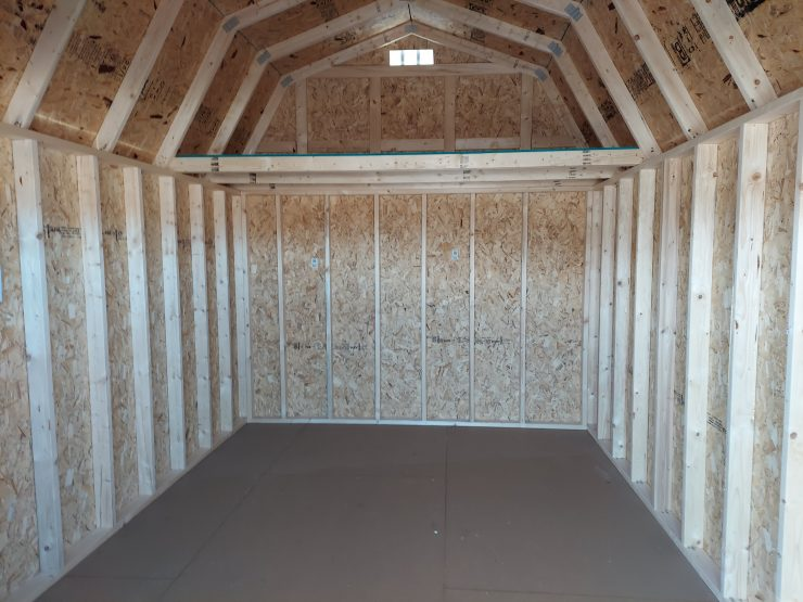 10x16 Lofted Barn Shed Inside Back