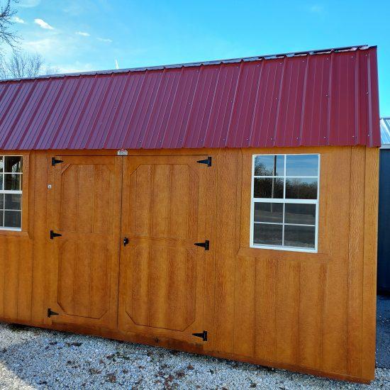 10x16 Side Lofted Barn with Windows in Cedar Urethane Front