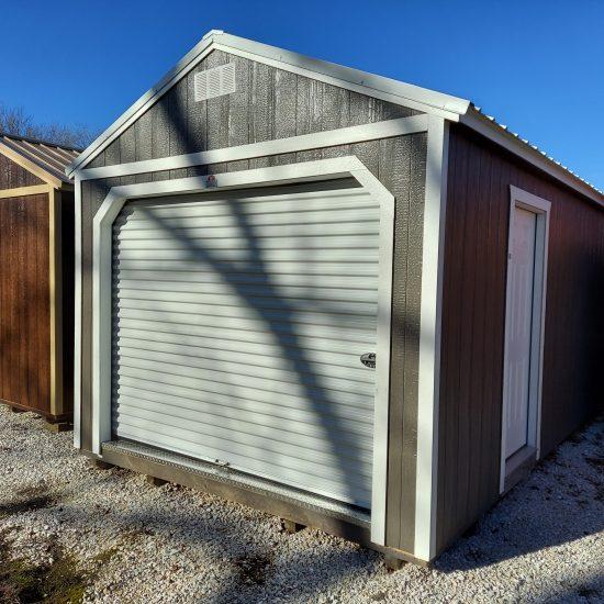 12x32 Portable Garage in Driftwood Urethane Front