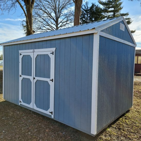 10x16 Side Utility Shed in Blue Paint Front