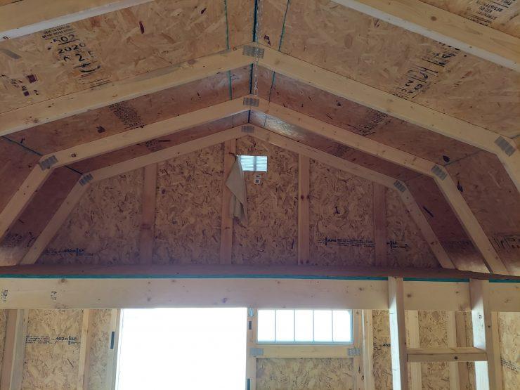 12x16 Lofted Barn Shed in Barn Red Paint Inside Loft
