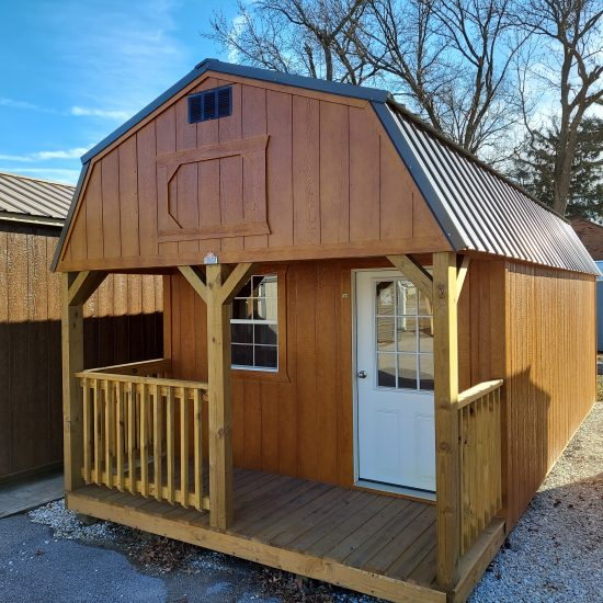 12x24 Lofted Barn Cabin or Tiny House with Porch Front