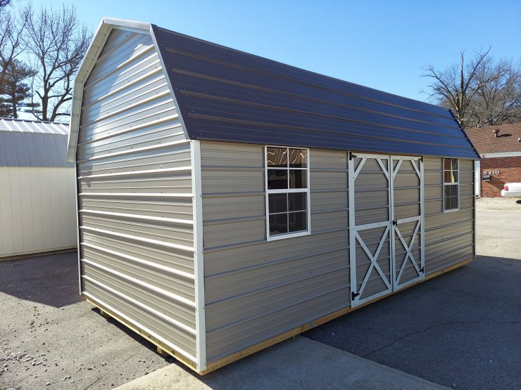 10x20 Side Lofted Barn with Windows in Taupe Metal Front Angle