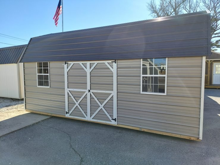 10x20 Side Lofted Barn with Windows in Taupe Metal Front