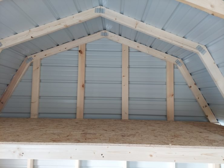 10x20 Side Lofted Barn with Windows in Taupe Metal Loft