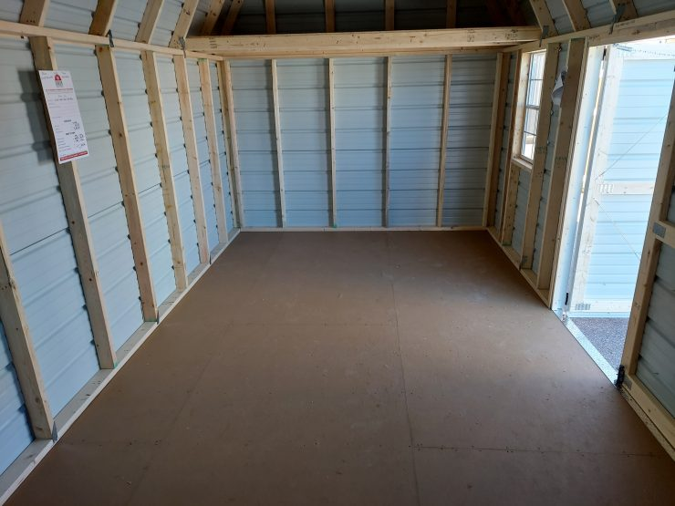 10x20 Side Lofted Barn with Windows in Taupe Metal Inside Right