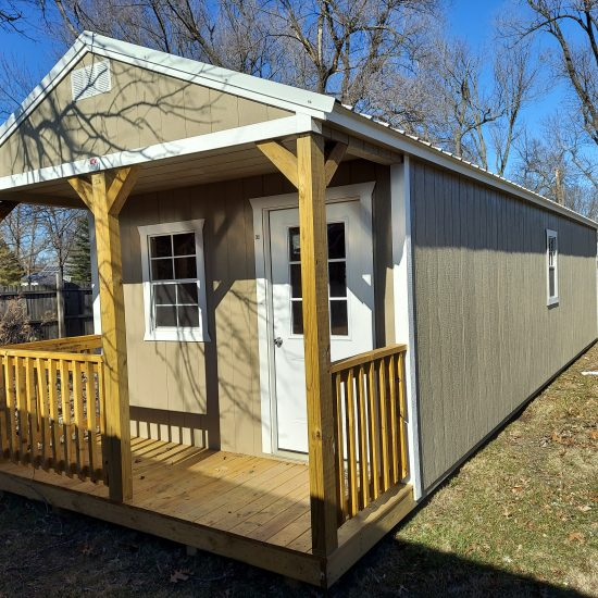 12x24 Side Utility Shed in Light Gray Paint Front