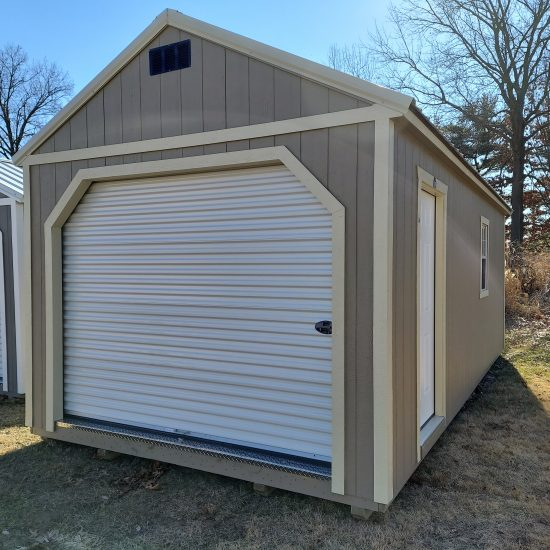 12x24 Portable Garage in Taupe Paint Front
