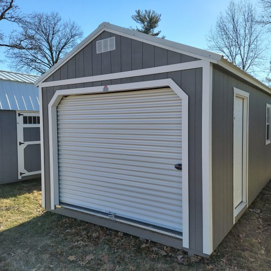 12x24 Portable Garage in Smoke Paint Front