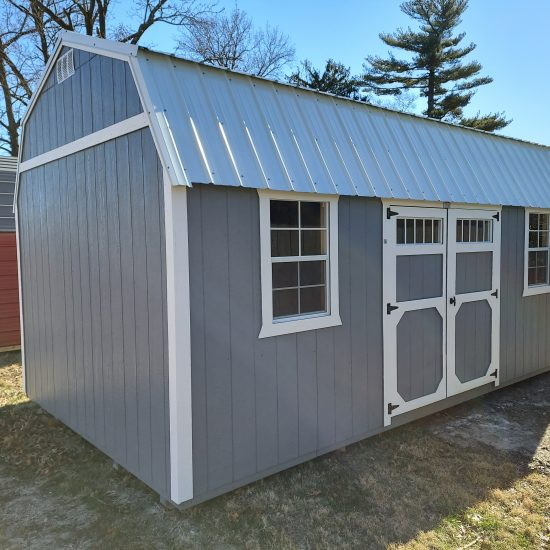 12x20 Side Lofted Barn with Windows in Dark Gray Paint Front