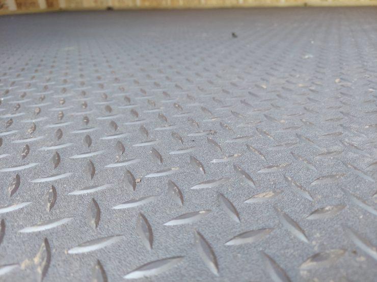 12x20 Side Lofted Barn with Windows in Dark Gray Paint Rubberized Flooring