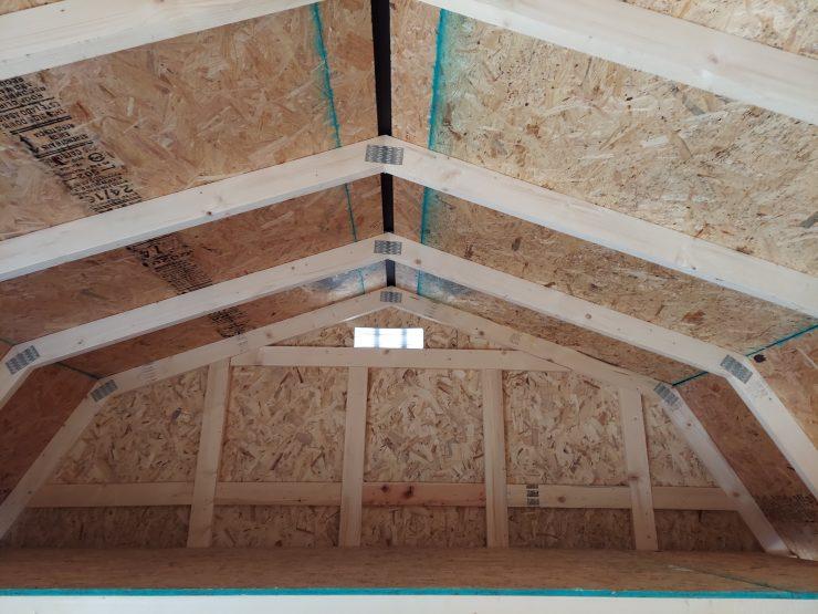 12x20 Side Lofted Barn with Windows in Dark Gray Paint Loft