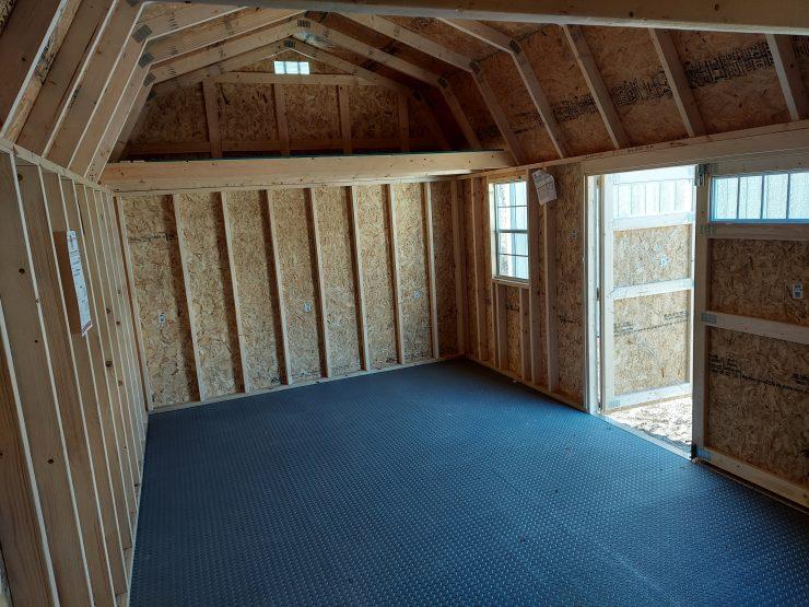 12x20 Side Lofted Barn with Windows in Dark Gray Paint Inside