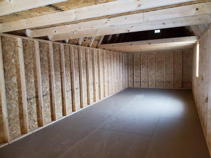 12x32 Lofted Barn Shed in Driftwood Urethane Inside Back