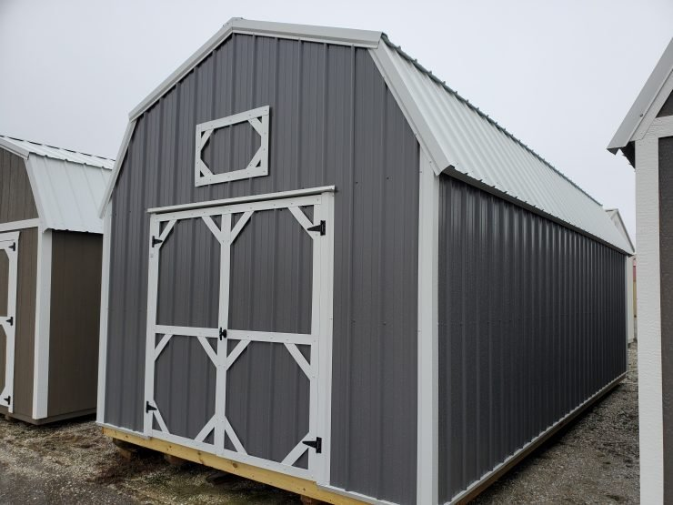 12x24 Lofted Barn Shed in Charcoal Metal Front