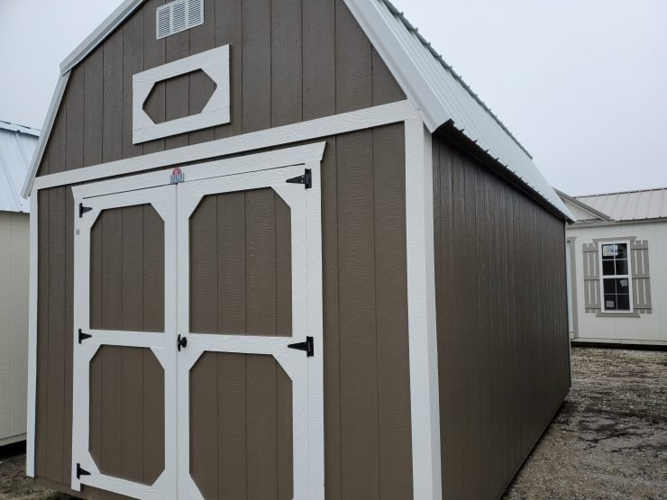 10x16 Lofted Barn Shed in Truffle Paint Front