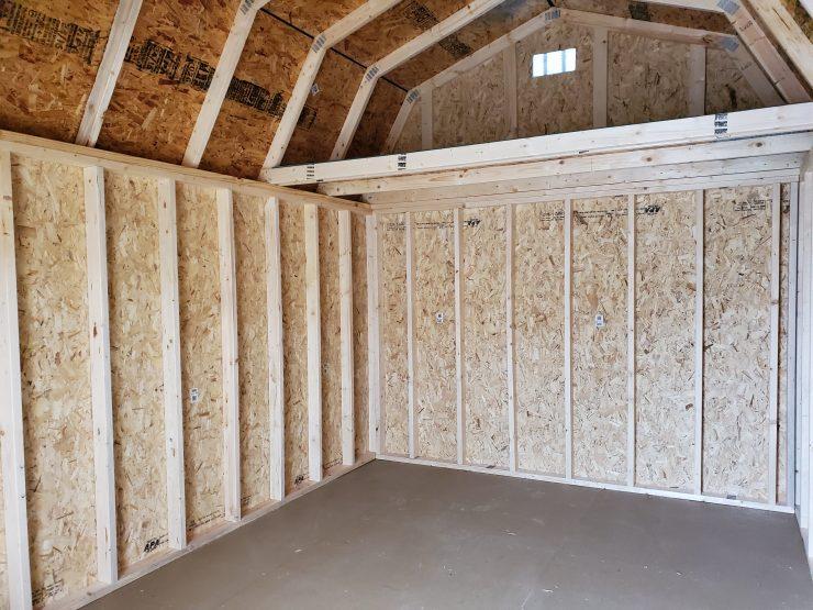 10x16 Lofted Barn Shed in Truffle Paint Back Loft