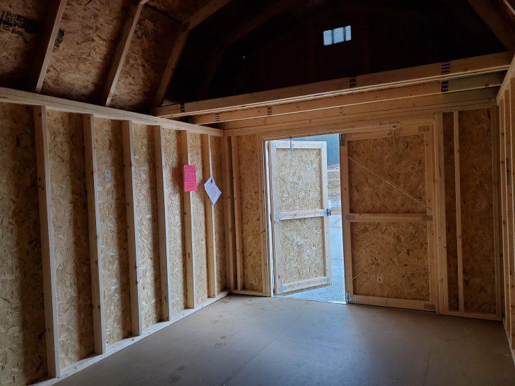 10x16 Lofted Barn Shed in Truffle Paint Inside Front Loft
