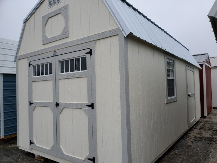 10x20 Lofted Barn Shed in Cotton Paint Front