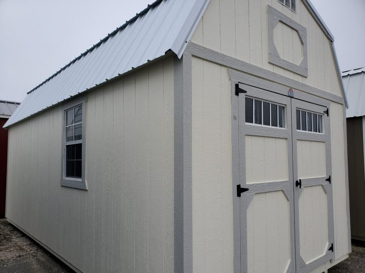 10x20 Lofted Barn Shed in Cotton Paint Front Angle