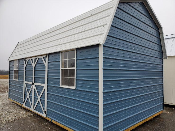 12x20 Side Lofted Barn Shed in Ocean Blue Metal Front