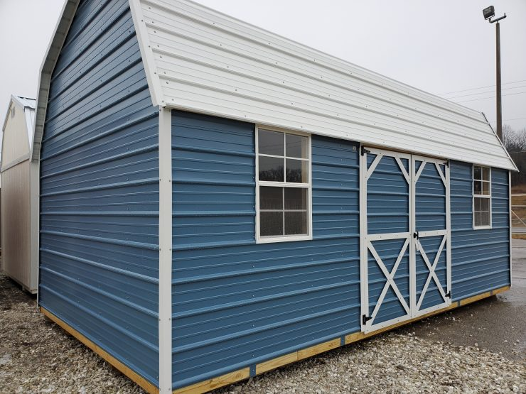12x20 Side Lofted Barn Shed in Ocean Blue Metal Front Angle