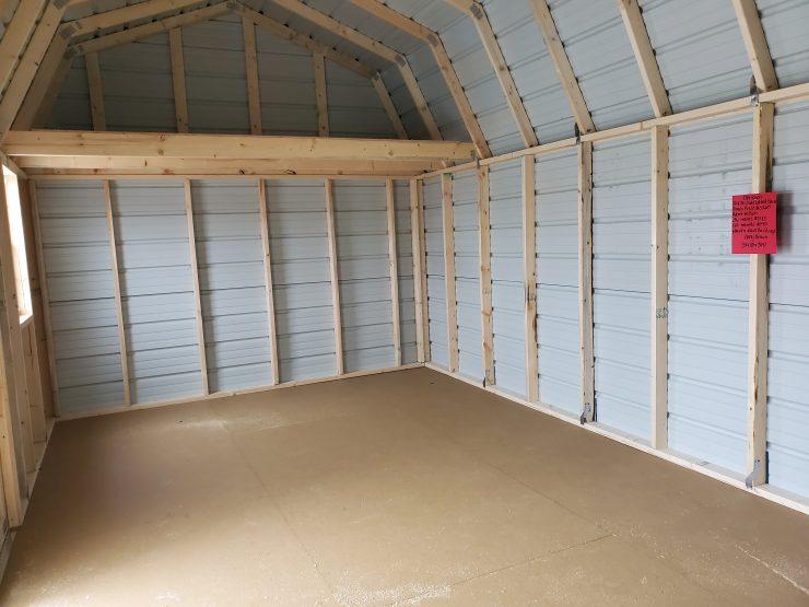 12x20 Side Lofted Barn Shed in Ocean Blue Metal Inside Back