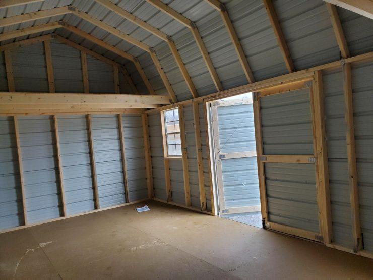 12x20 Side Lofted Barn Shed in Ocean Blue Metal Inside Front
