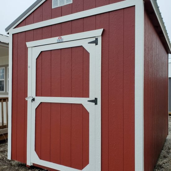 8x12 Utility Garden Shed in Barn Red Paint Front