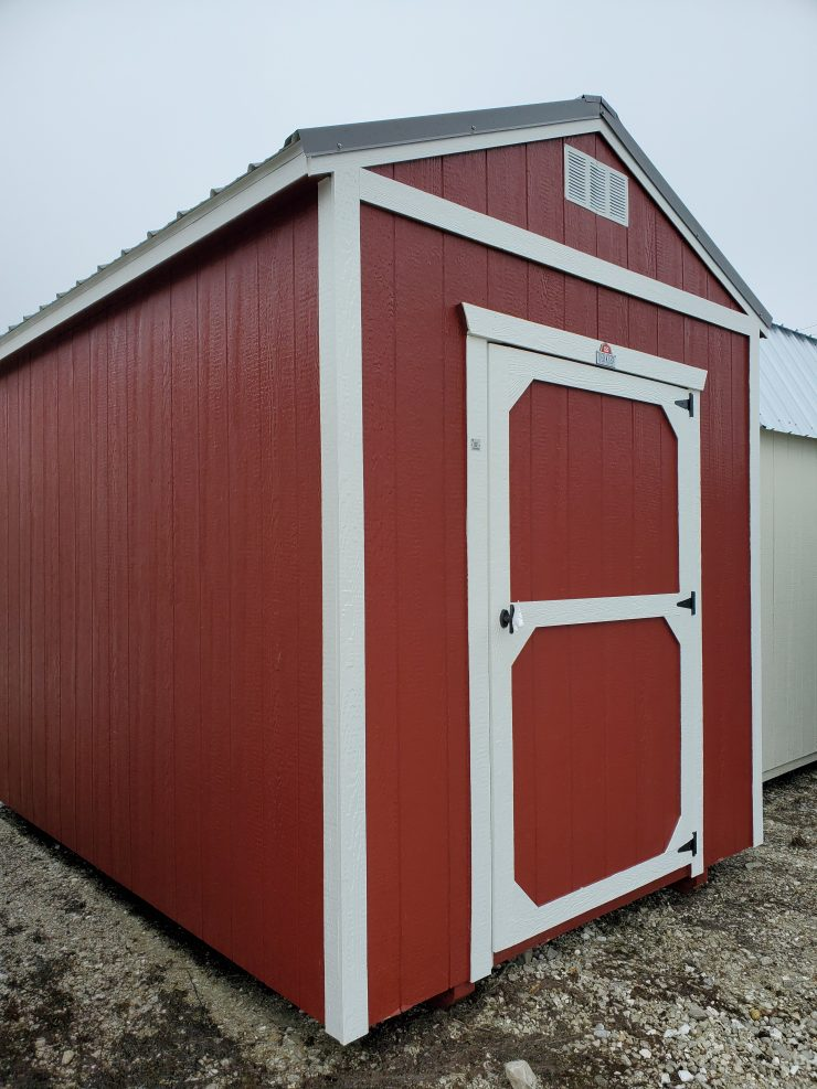 8x12 Utility Garden Shed in Barn Red Paint Front Angle