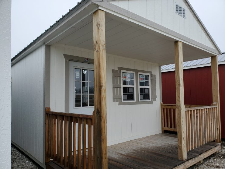 14x38 Cabin or Tiny Home in Cotton Paint Front Angle