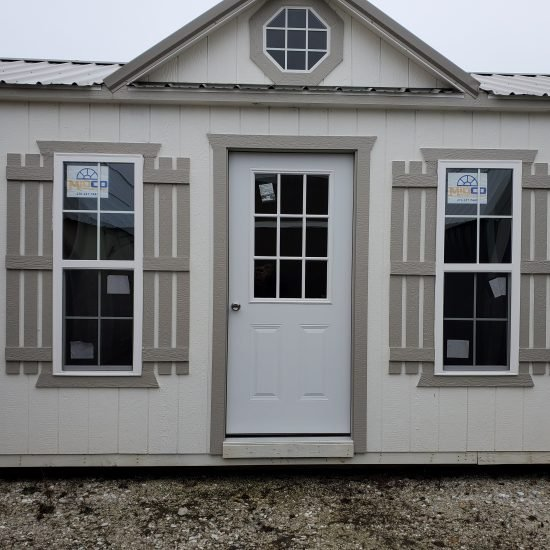 14x38 Cabin or Tiny Home in Cotton Paint Front Side