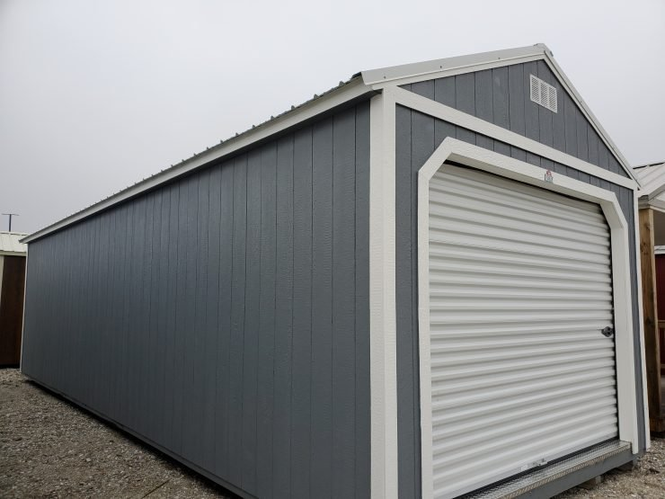 12x32 Portable Garage in Dark Gray Paint front Angle