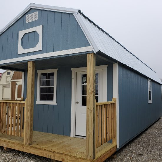 12x32 Lofted Barn Cabin in Blue Paint Front