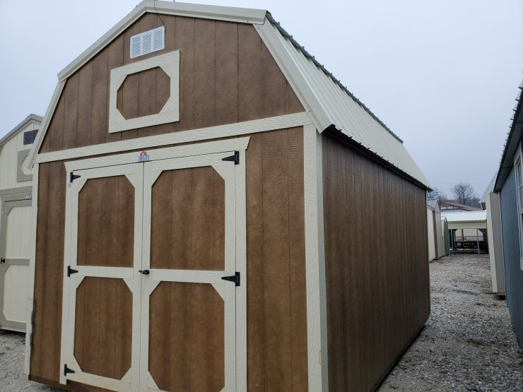 10x16 Lofted Barn Shed in Chestnut Urethane Front