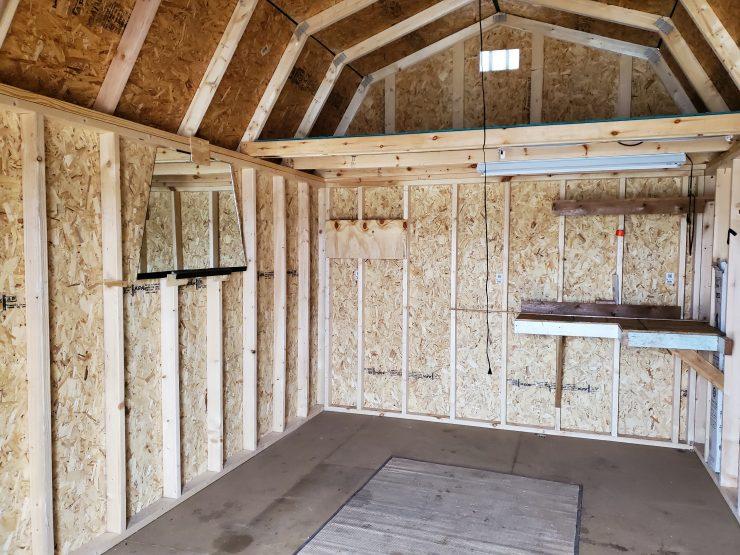 10x16 Lofted Barn Shed in Chestnut Urethane Inside Back