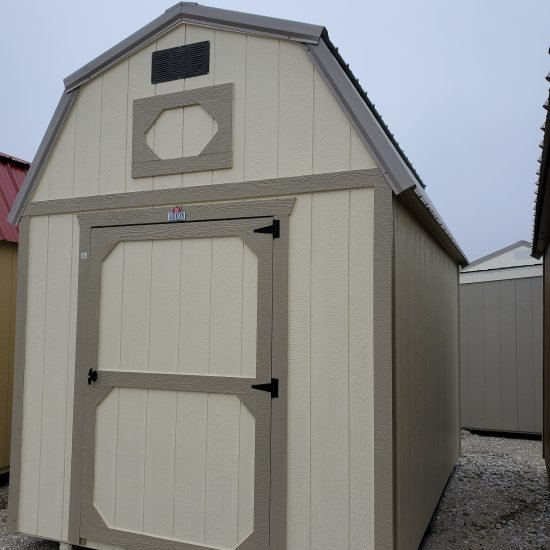 8x12 Lofted Barn in Almond Paint Front