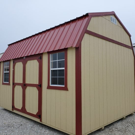 12x16 Side Lofted Barn Shed in Tan Paint Front