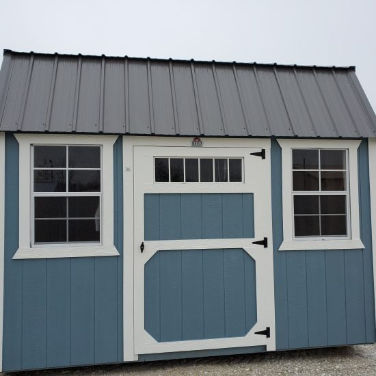 8x12 Side Lofted Barn Shed in Blue Paint Front