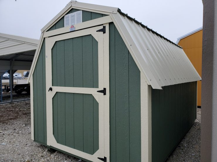 8x12 Standard Barn Shed in Pequea Green Paint Front