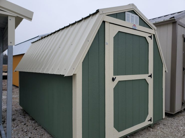 8x12 Standard Barn Shed in Pequea Green Paint Front Angle
