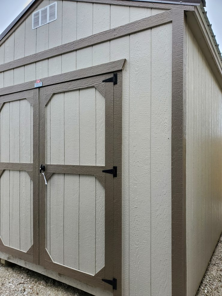 10x12 Utility Garden Shed in Pecan Paint Front
