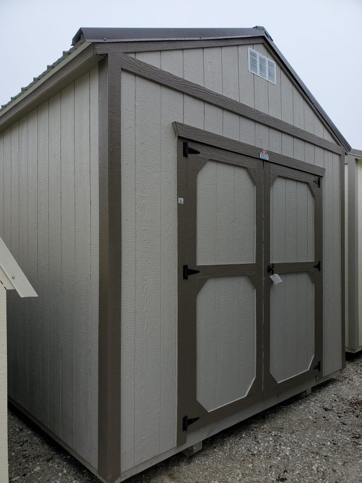 10x12 Utility Garden Shed in Pecan Paint Angle Front